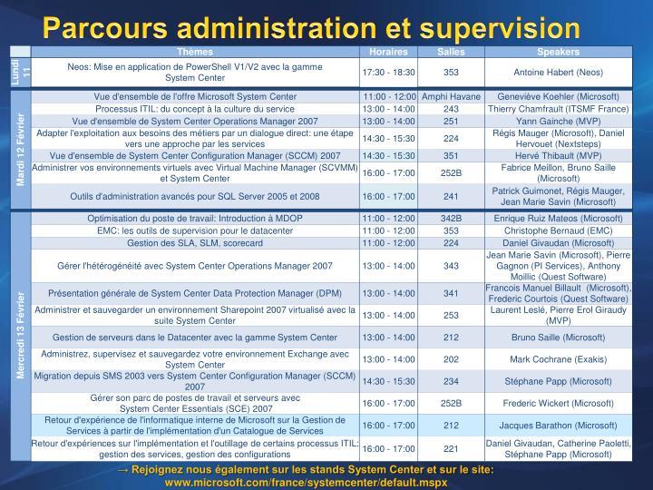 Parcours administration et supervision