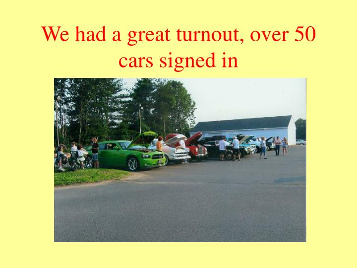 We had a great turnout over 50 cars signed in