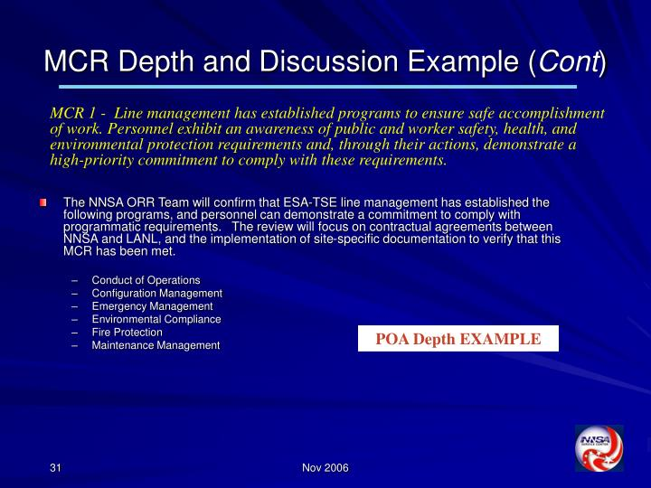 MCR Depth and Discussion Example (