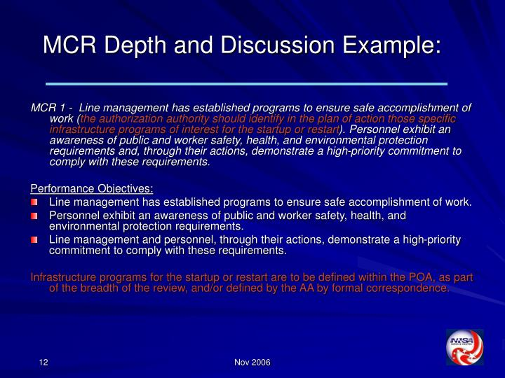 MCR Depth and Discussion Example: