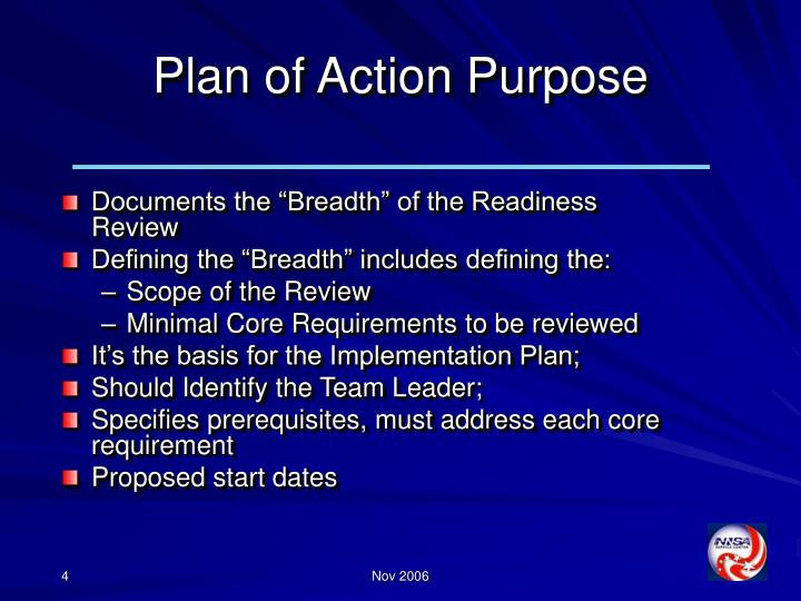 Plan of Action Purpose