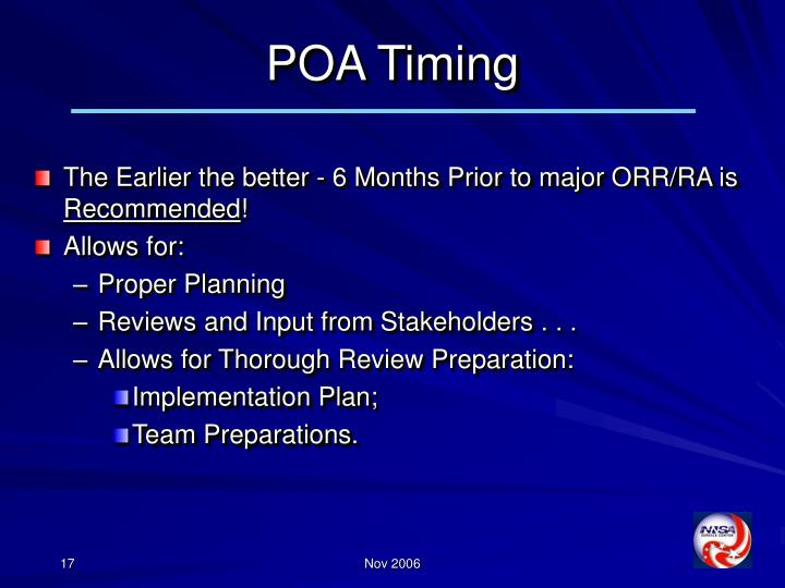 POA Timing