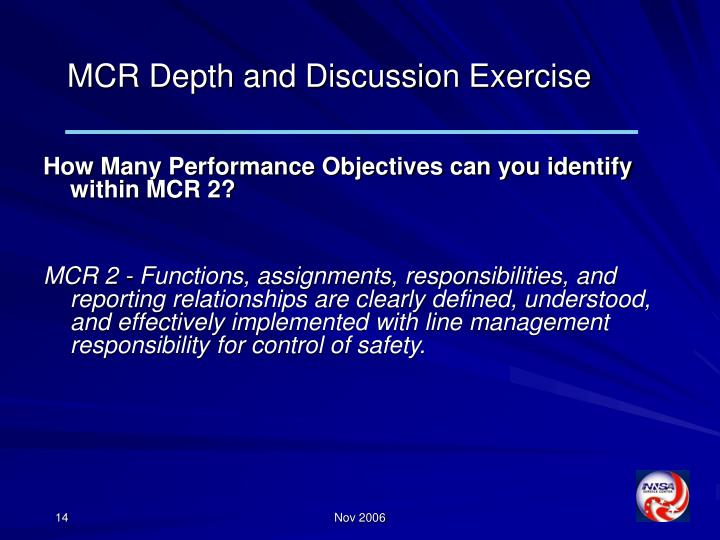 MCR Depth and Discussion Exercise