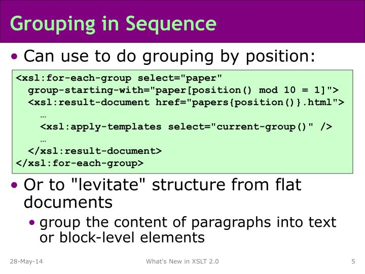 Grouping in Sequence