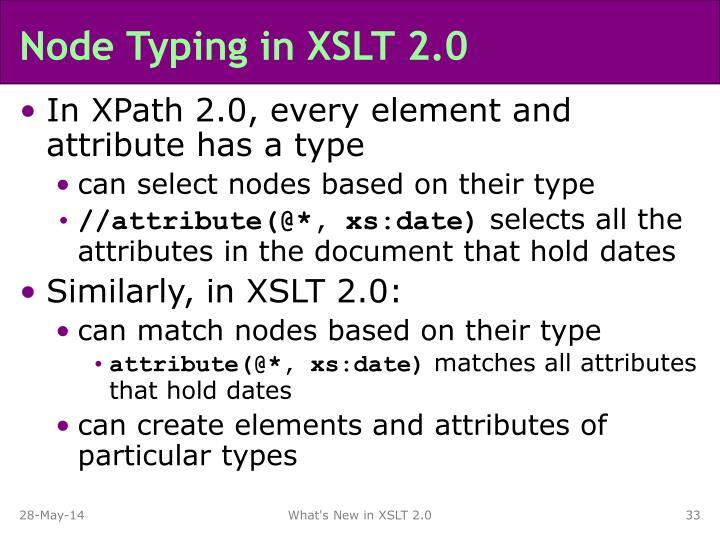 Node Typing in XSLT 2.0