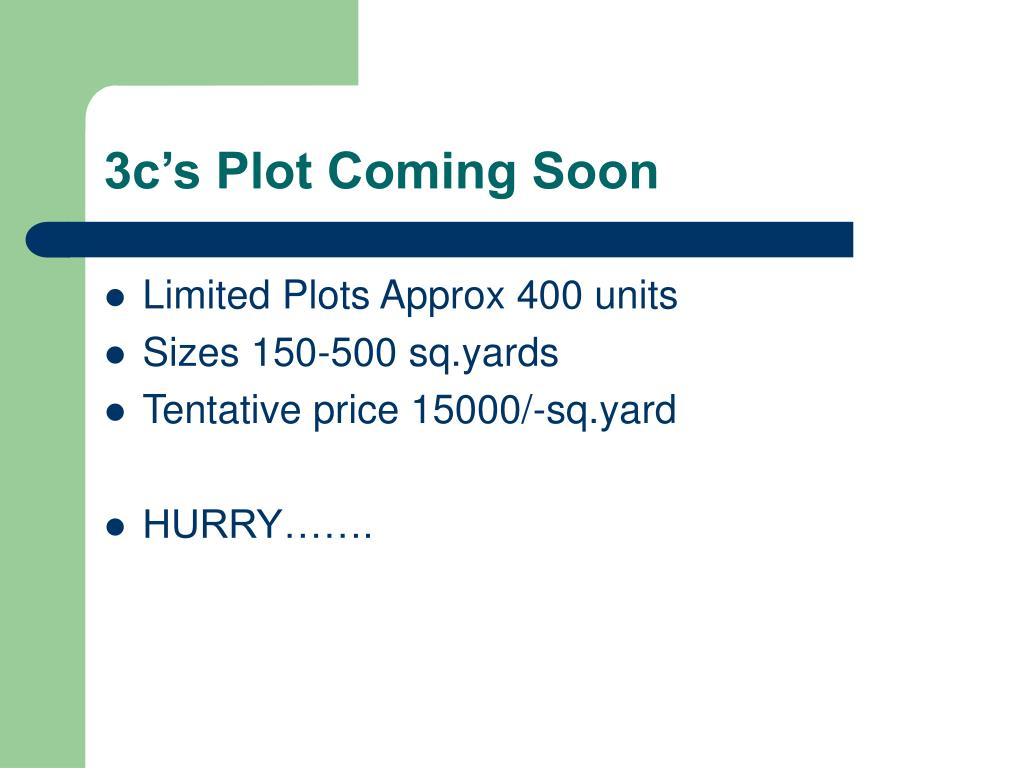 3c's Plot Coming Soon