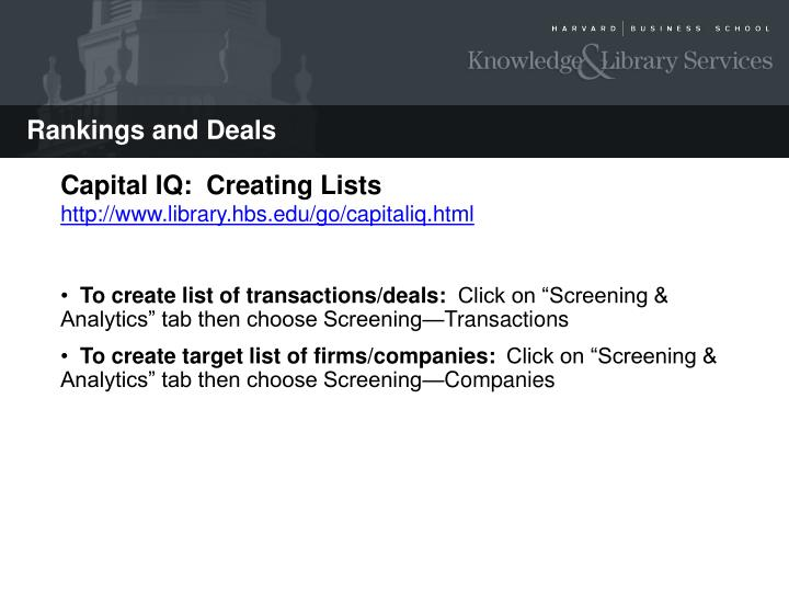 Capital IQ: Creating Deals Lists