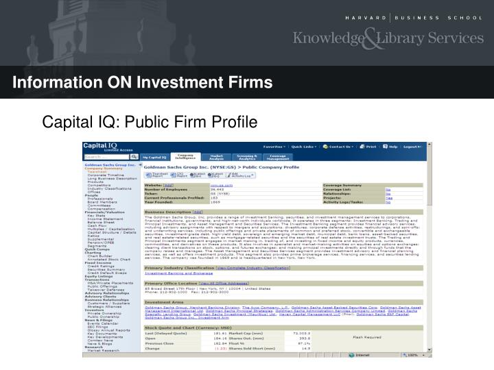 Capital IQ: Public Firm Profile