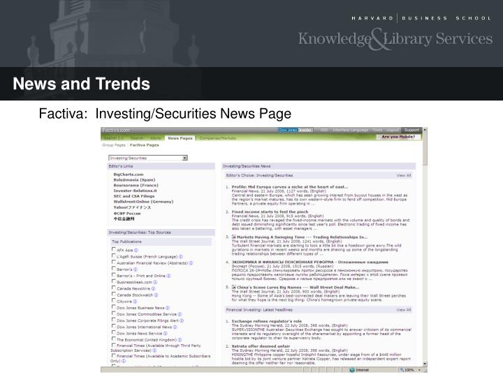 Factiva:  Investing/Securities News Page