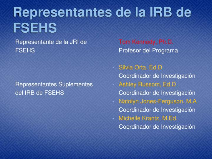 Representantes de la IRB de FSEHS