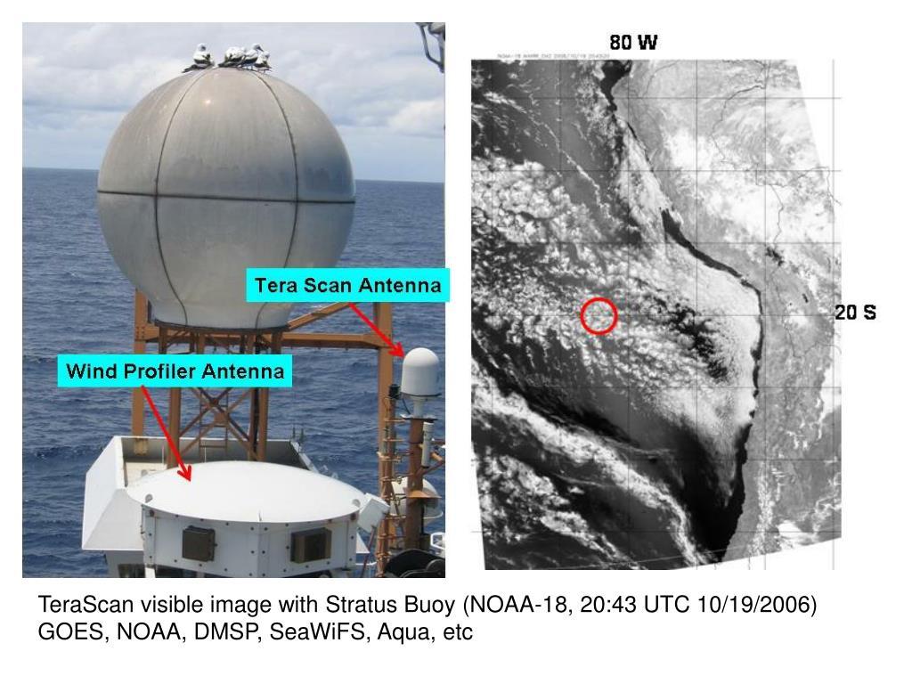 TeraScan visible image with Stratus Buoy (NOAA-18, 20:43 UTC 10/19/2006)