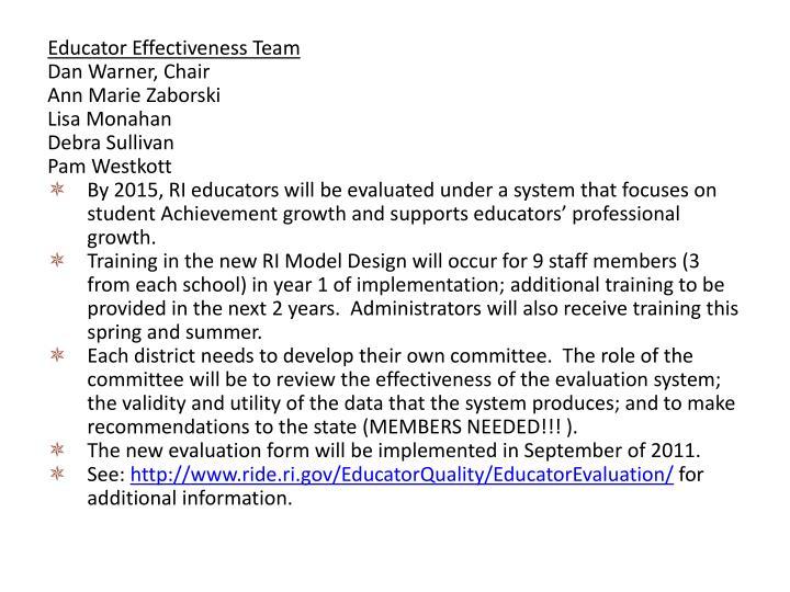 Educator Effectiveness Team
