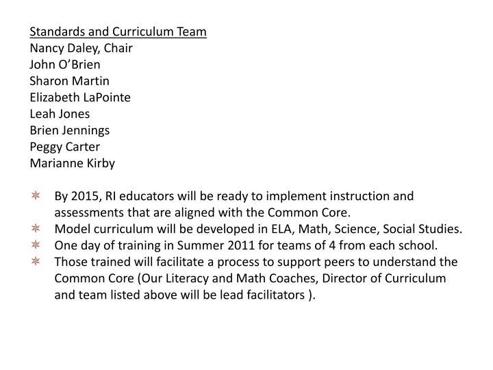 Standards and Curriculum Team