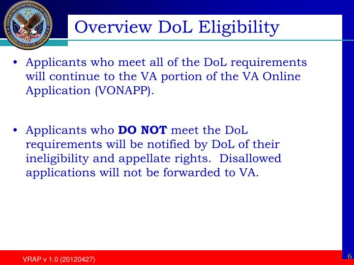 Overview DoL Eligibility