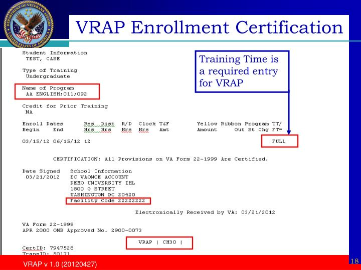 VRAP Enrollment Certification