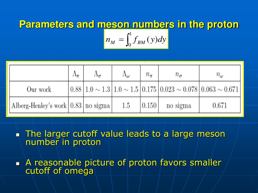 Parameters and meson numbers in the proton