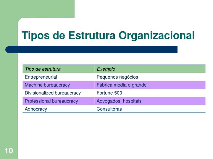 Tipos de Estrutura Organizacional