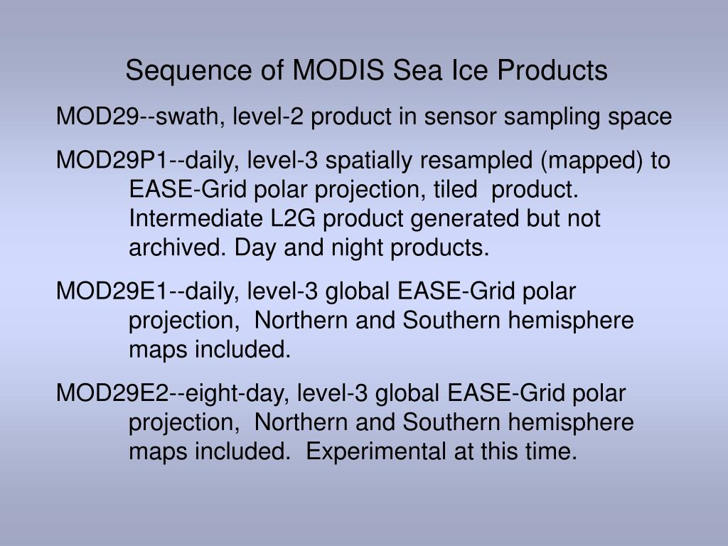 Sequence of MODIS Sea Ice Products