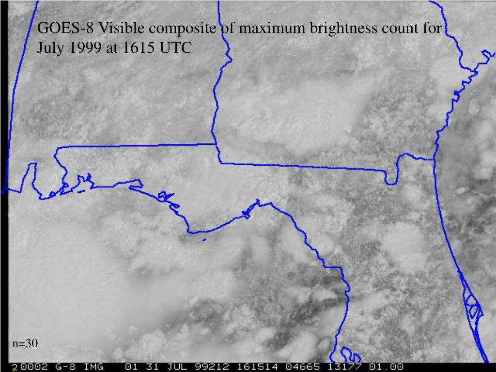 GOES-8 Visible composite of maximum brightness count for July 1999 at 1615 UTC