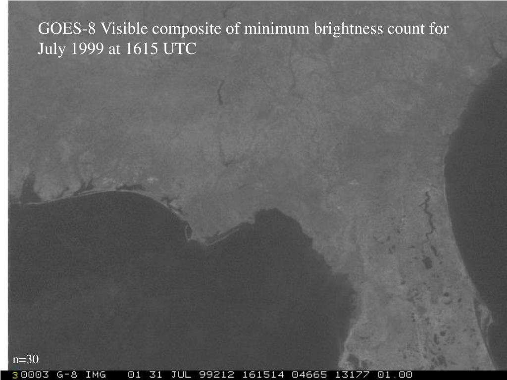 GOES-8 Visible composite of minimum brightness count for July 1999 at 1615 UTC