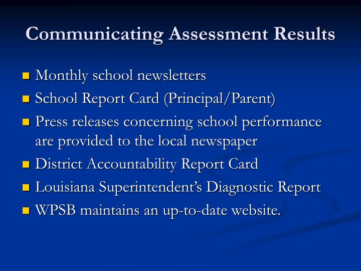 Communicating Assessment Results