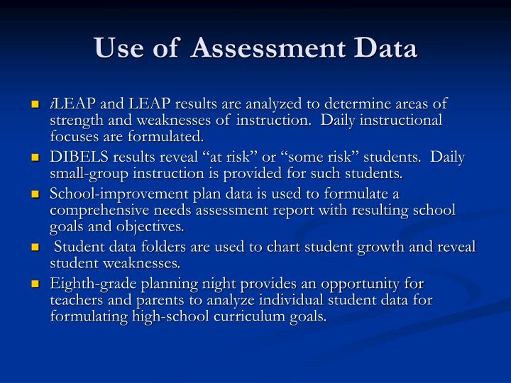 Use of Assessment Data