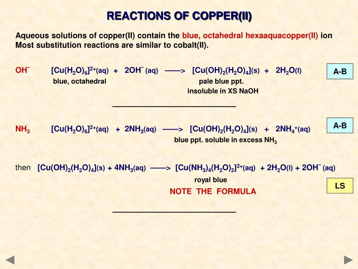 REACTIONS OF COPPER(II)