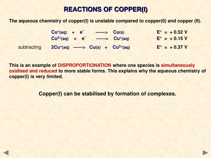 REACTIONS OF COPPER(I)