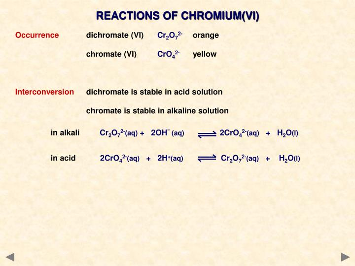 REACTIONS OF CHROMIUM(VI)