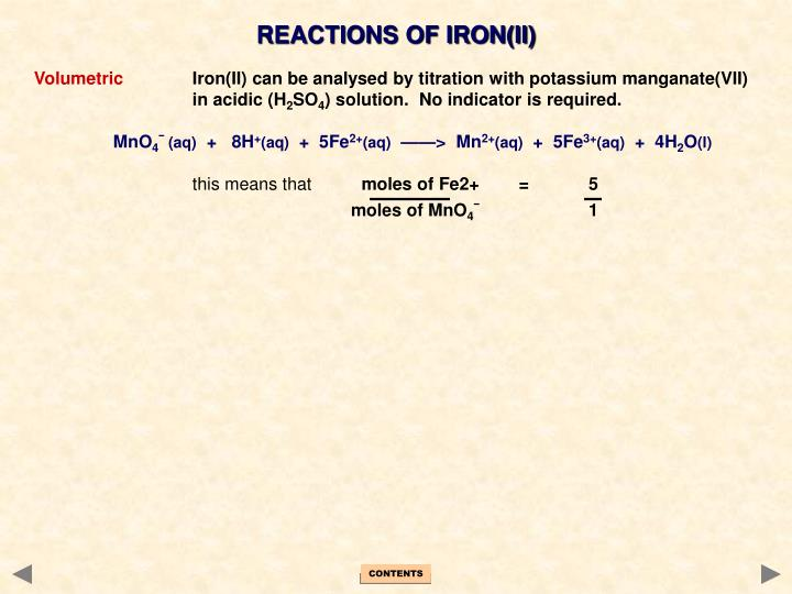 REACTIONS OF IRON(II)