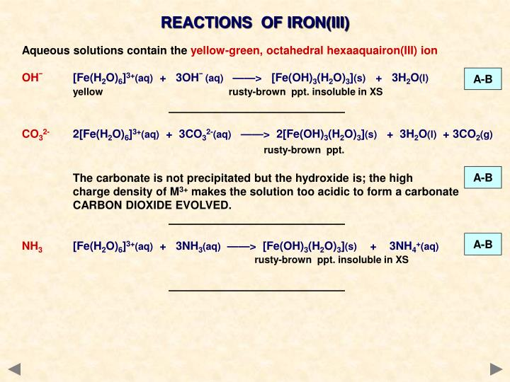 REACTIONS  OF IRON(III)