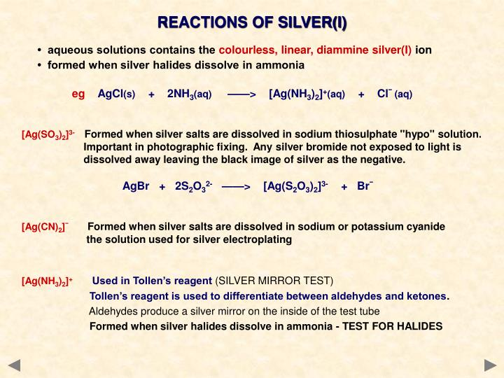 REACTIONS OF SILVER(I)