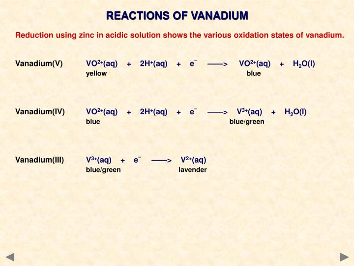 REACTIONS OF VANADIUM