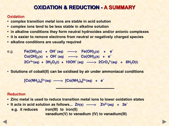 OXIDATION & REDUCTION -