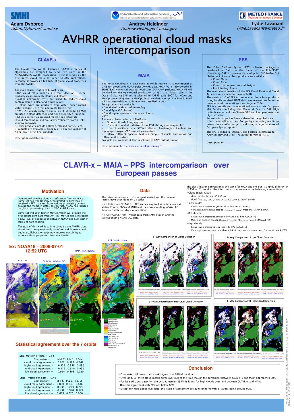 The classification convention is the same for MAIA and PPS but is slightly different in CLAVR-x. To conduct the intercomparison, we made the following assumptions: