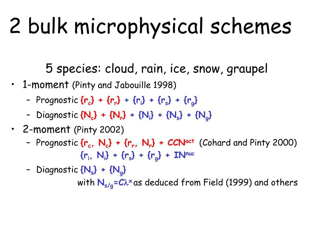 2 bulk microphysical schemes