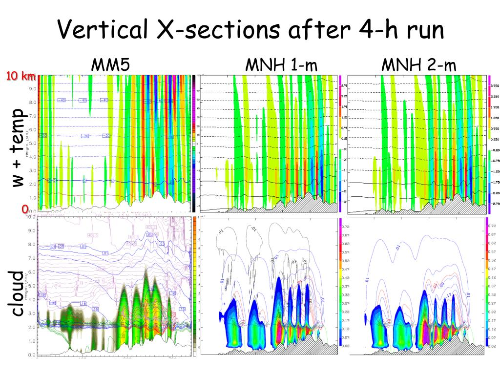 Vertical X-sections after 4-h run