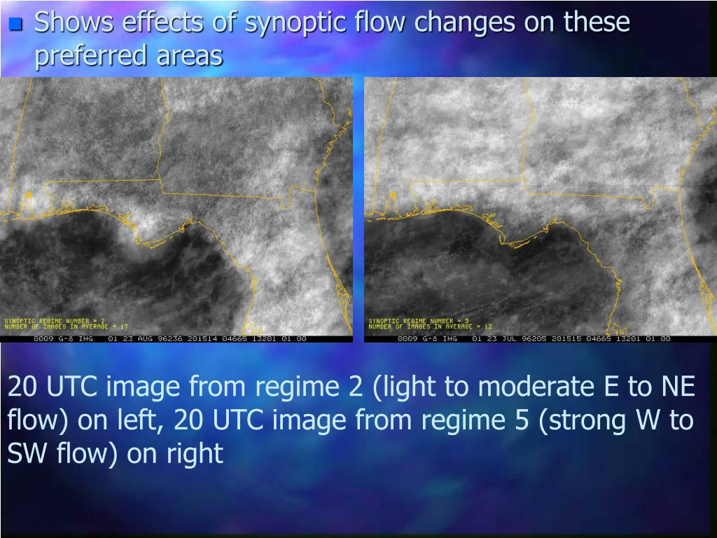 Shows effects of synoptic flow changes on these preferred areas