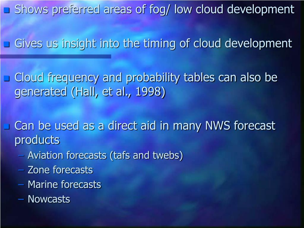 Shows preferred areas of fog/ low cloud development