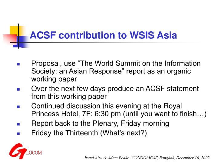 ACSF contribution to WSIS Asia