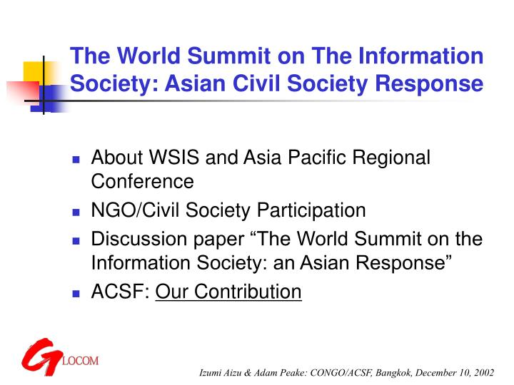 The world summit on the information society asian civil society response
