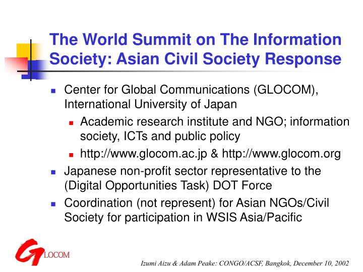 The world summit on the information society asian civil society response1