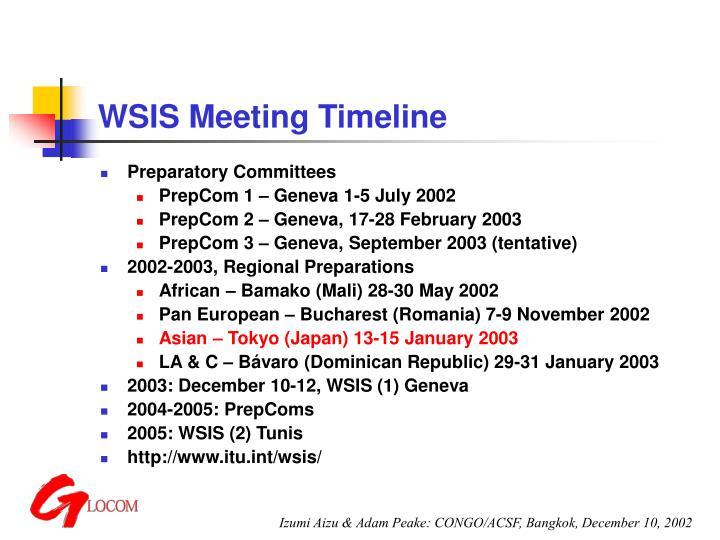 WSIS Meeting Timeline