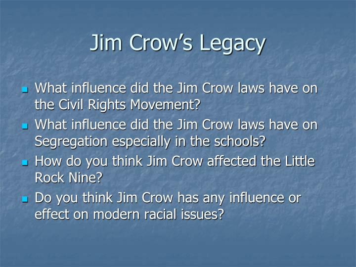 jim crows legacy essay The papers told a pretty straight forward story, though i cannot now remember it all  to the question, how do i see the legacy of jim crow well, i see it here in.