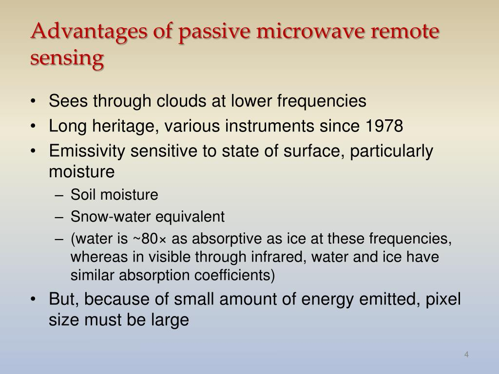 Advantages of passive microwave remote sensing