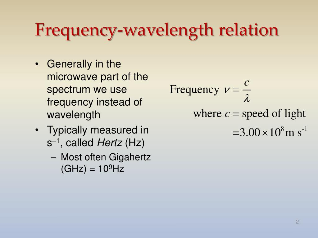 Frequency-wavelength relation