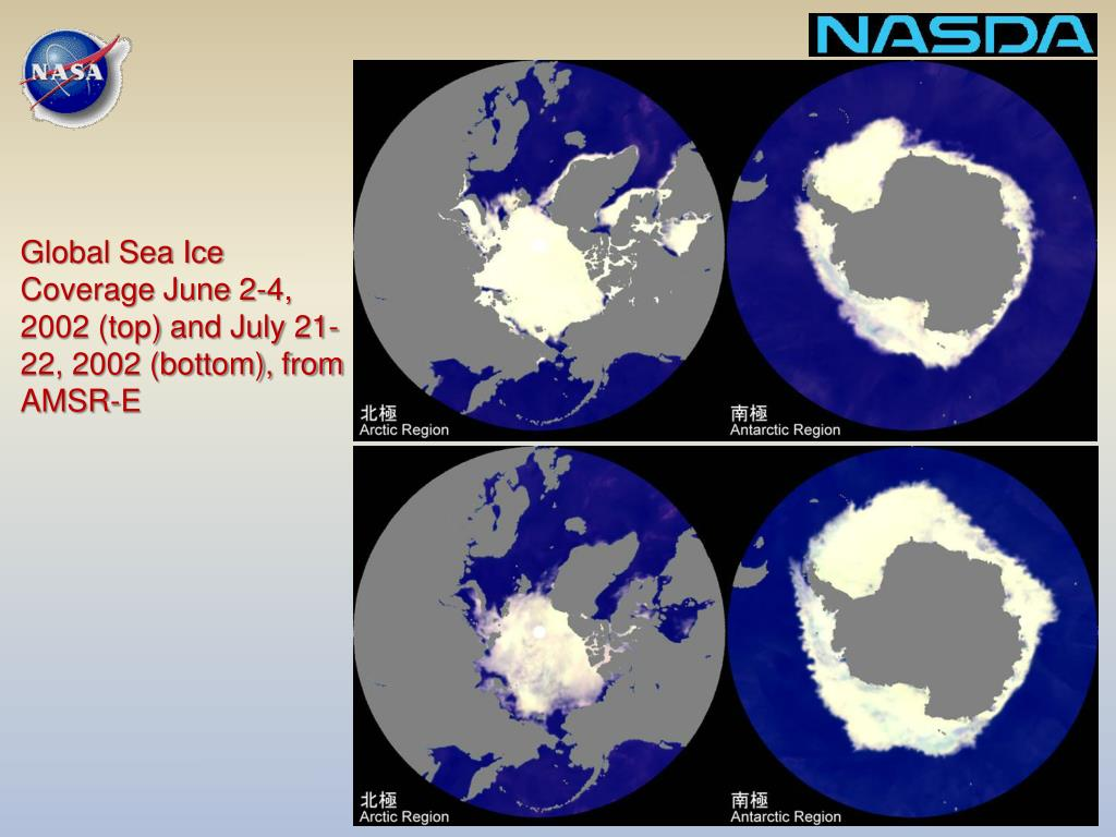 Global Sea Ice Coverage June 2-4, 2002 (top) and July 21-22, 2002 (bottom), from AMSR-E