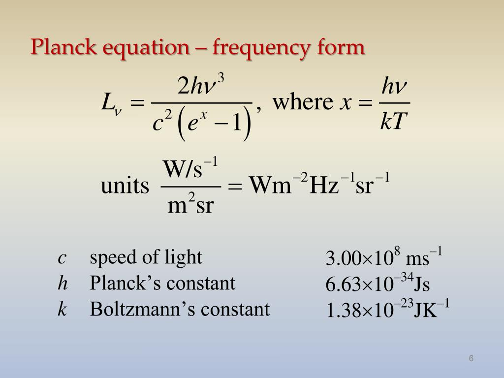 Planck equation – frequency form