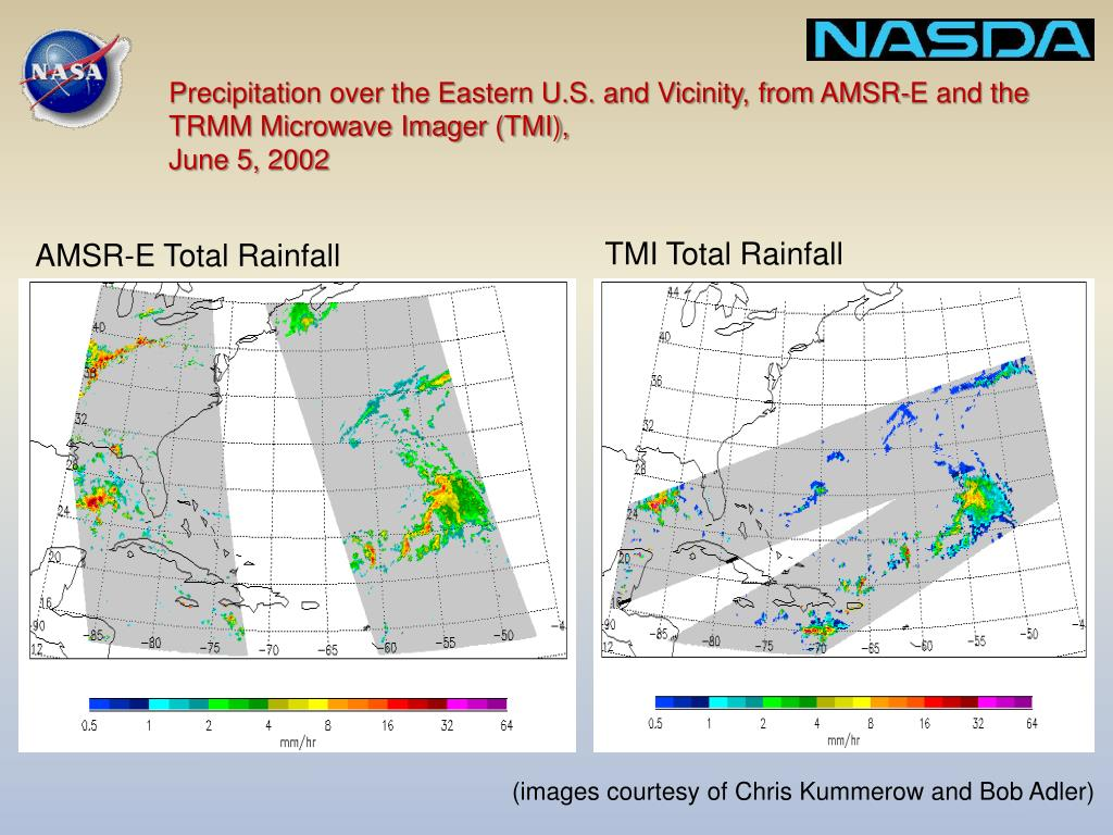 Precipitation over the Eastern U.S. and Vicinity, from AMSR-E and the TRMM Microwave Imager (TMI),