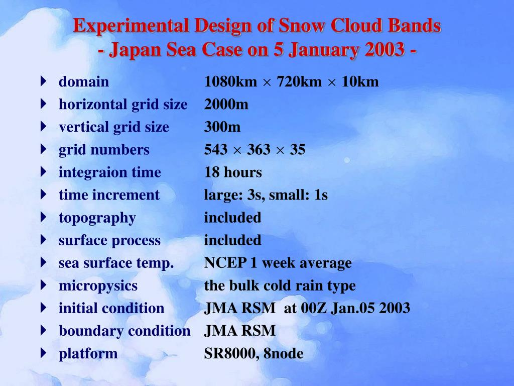 Experimental Design of Snow Cloud Bands